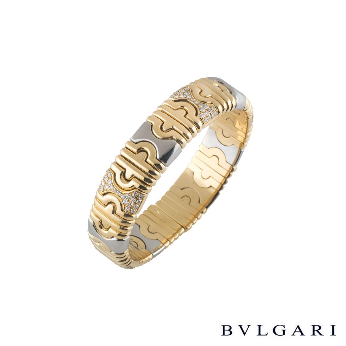 BvlgariYellow Gold and Stainless Steel Diamond Parentesi Bangle